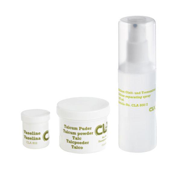 Pflegeset (Silikonspray 125 ml / Talcum / Vaseline)